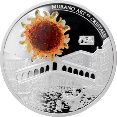 Stříbrná mince Rialto bridge 2 Oz Murano Art en Cristall 2014 Proof