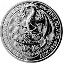 Strieborná investičná minca The Queen's Beasts Red Dragon 2 Oz 2017