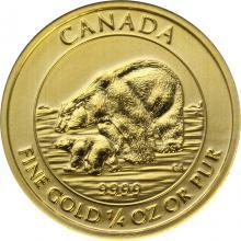 Zlatá investiční mince Polar Bear and Cub 1/4 Oz 2015