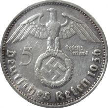 Stříbrná mince 5 Marka Paul von Hindenburg 1936