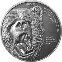 Stříbrná mince 2 Oz Medvěd grizzly North American Predators 2017 Antique Standard