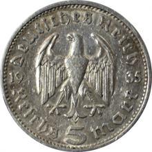 Stříbrná mince 5 Marka Paul von Hindenburg 1935