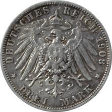 Stříbrná mince 3 Marka Vilém II. Pruský 1908