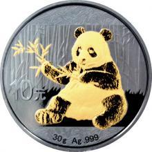 Stříbrná Ruthenium mince pozlacená Panda 1 Oz Golden Enigma 2017 Proof