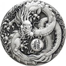 Stříbrná mince 2 Oz Drak 2017 Antique Standard