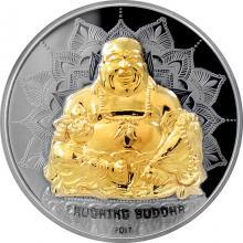 Stříbrná mince 2 Oz pozlacený Smějící se Buddha 2017 Proof