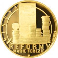 Zlatá čtvrtuncová mince Reformy Marie Terezie - měnová 2017 Proof