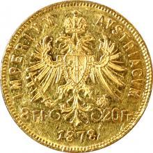 Zlatá mince Osmizlatník Františka Josefa I. 8 Gulden 20 Franků 1878
