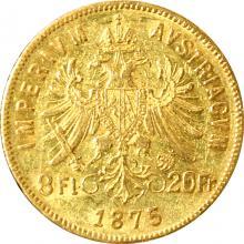 Zlatá mince Osmizlatník Františka Josefa I. 8 Gulden 20 Franků 1875