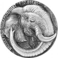 Stříbrná mince 5 Oz Slon The African Big Five High Relief 2017 Antique Standard