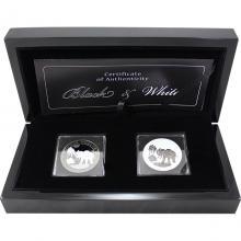 Sada stříbrných Ruthenium mincí Slon africký Black and White 2017 Proof