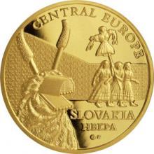 Zlatá investiční mince Maska z regionu Slovensko - Heľpa 1 Oz 2015