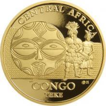 Zlatá investiční mince Maska z regionu Kongo - Teke 1 Oz 2015
