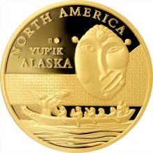 Zlatá investiční mince Maska z regionu Aljaška - Yup'ik 1 Oz 2015