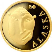 Zlatá investičná minca Maska z regionu Aljaška - Yup'ik 1/10 Oz 2015
