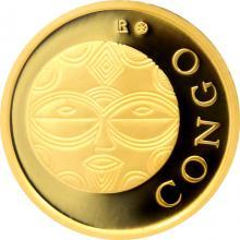 Zlatá investičná minca Maska z regionu Kongo - Teke 1/10 Oz 2015