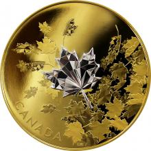 Stříbrná pozlacená mince Whispering Maple Leaves 2017 Proof