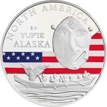Stříbrná investiční mince Maska z regionu Aljaška - Yup'ik 1 Oz 2015