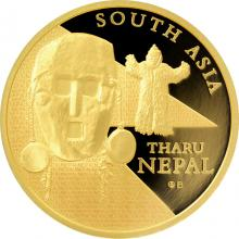 Zlatá investiční mince Maska z regionu Nepál - Tharu 1 Oz 2015