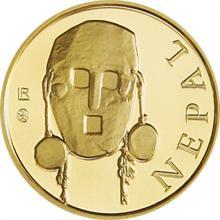 Zlatá investičná minca Maska z regionu Nepál - Tharu 1/10 Oz 2015