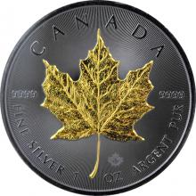 Stříbrná Ruthenium mince pozlacený Maple Leaf 1 Oz Golden Enigma 2017 Standard