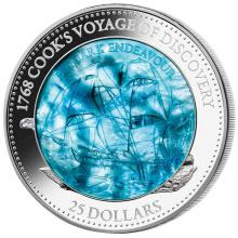 Stříbrná mince 5 Oz HMS Endeavour 250. výročí 2018 Perleť Proof