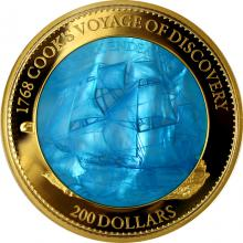 Zlatá mince 5 Oz HMS Endeavour 250. výročí 2018 Perleť Proof