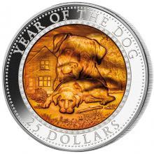 Stříbrná mince 5 Oz Year of the Dog - Rok Psa 2018 Perleť Proof