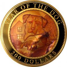 Zlatá mince 5 Oz Year of the Dog - Rok Psa 2018 Perleť Proof