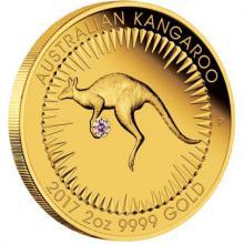 Zlatá mince 2 Oz Australian Kangaroo - růžový Diamant 2017 Proof