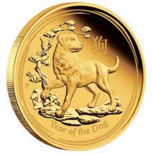 Exkluzivní Zlatá mince Year of the Dog Rok Psa Lunární 1 Oz 2018 Proof