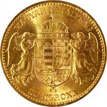 Zlatá mince Dvacetikoruna Františka Josefa I. Uherská ražba 1893