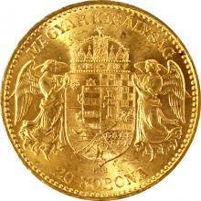 Zlatá mince Dvacetikoruna Františka Josefa I. Uherská ražba 1894