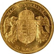 Zlatá mince Dvacetikoruna Františka Josefa I. Uherská ražba 1895