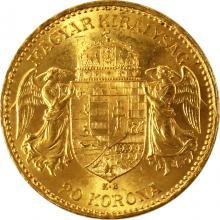 Zlatá mince Dvacetikoruna Františka Josefa I. Uherská ražba 1896