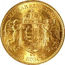 Zlatá mince Dvacetikoruna Františka Josefa I. Uherská ražba 1897