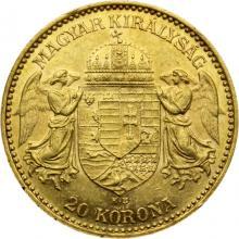 Zlatá minca 20 Korún Františka Jozefa I. Uhorská razba 1898
