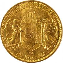 Zlatá mince Dvacetikoruna Františka Josefa I. Uherská ražba 1914