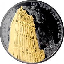 Strieborná Ruténium minca pozlátený Big Ben 1 Oz Golden Enigma 2017 Standard