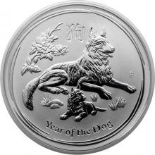 Stříbrná investiční mince Year of the Dog Rok Psa Lunární 1/2 Oz 2018