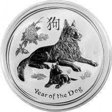 Stříbrná investiční mince Year of the Dog Rok Psa Lunární 1 Oz 2018
