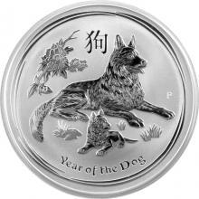 Stříbrná investiční mince Year of the Dog Rok Psa Lunární 2 Oz 2018