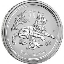 Stříbrná investiční mince Year of the Dog Rok Psa Lunární 5 Oz 2018