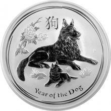 Stříbrná investiční mince Year of the Dog Rok Psa Lunární 10 Oz 2018