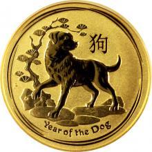 Zlatá investiční mince Year of the Dog Rok Psa Lunární 1/10 Oz 2018