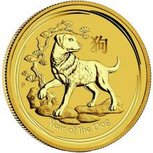 Zlatá investiční mince Year of the Dog Rok Psa Lunární 1/4 Oz 2018