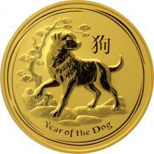 Zlatá investiční mince Year of the Dog Rok Psa Lunární 2 Oz 2018