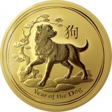 Zlatá investiční mince Year of the Dog Rok Psa Lunární 10 Oz 2018
