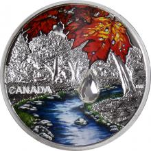 Stříbrná mince Jewel of the Rain: Sugar Maple Leaves 1 Oz 2017 Krystal Proof