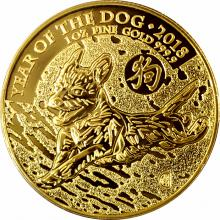 Zlatá investiční mince Rok Psa Lunární The Royal Mint 1 Oz 2018